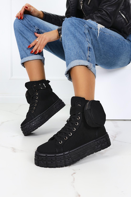 Czarne trampki na platformie wysokie buty sportowe sznurowane z kieszonką Casu PC88 czarny