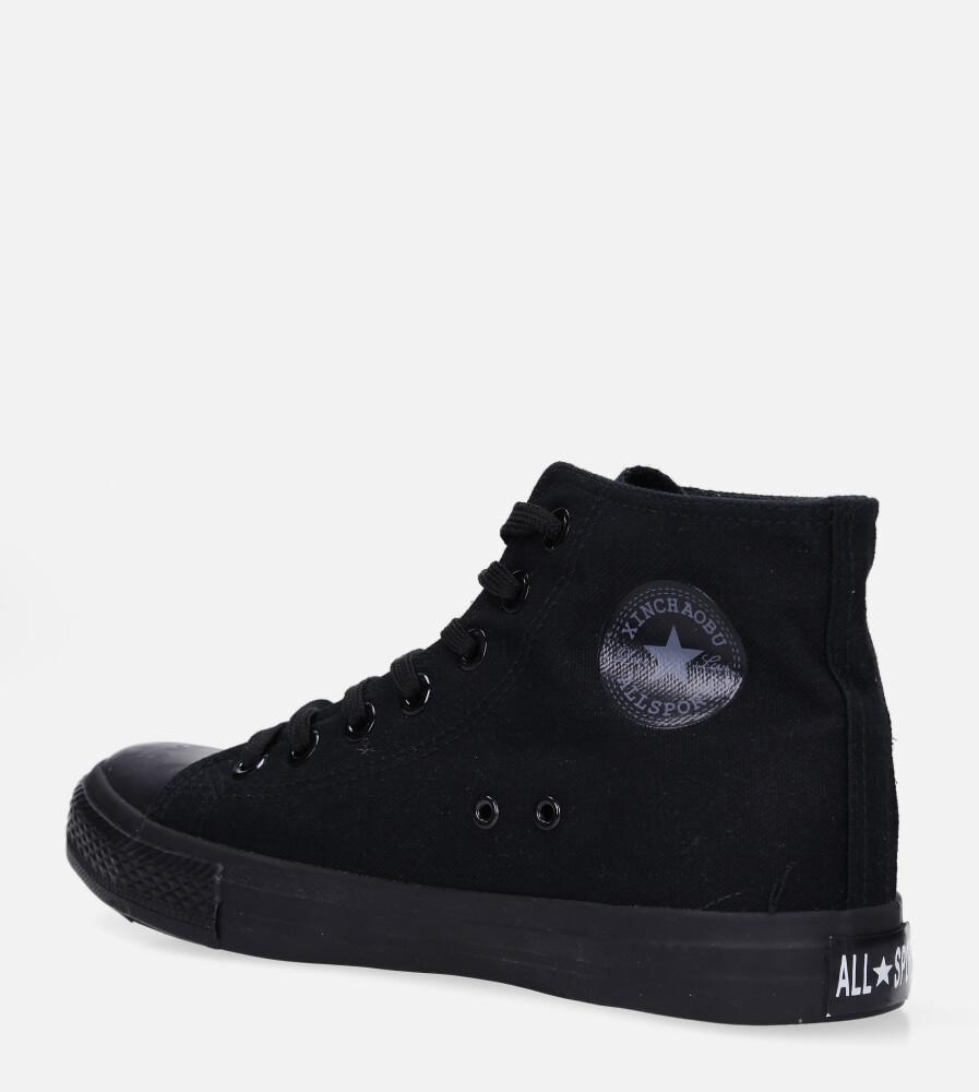 Czarne trampki wysokie sznurowane Casu XB02  kolor czarny