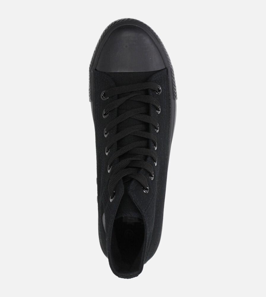 Czarne trampki wysokie sznurowane Casu XB02  wys_calkowita_buta 15 cm