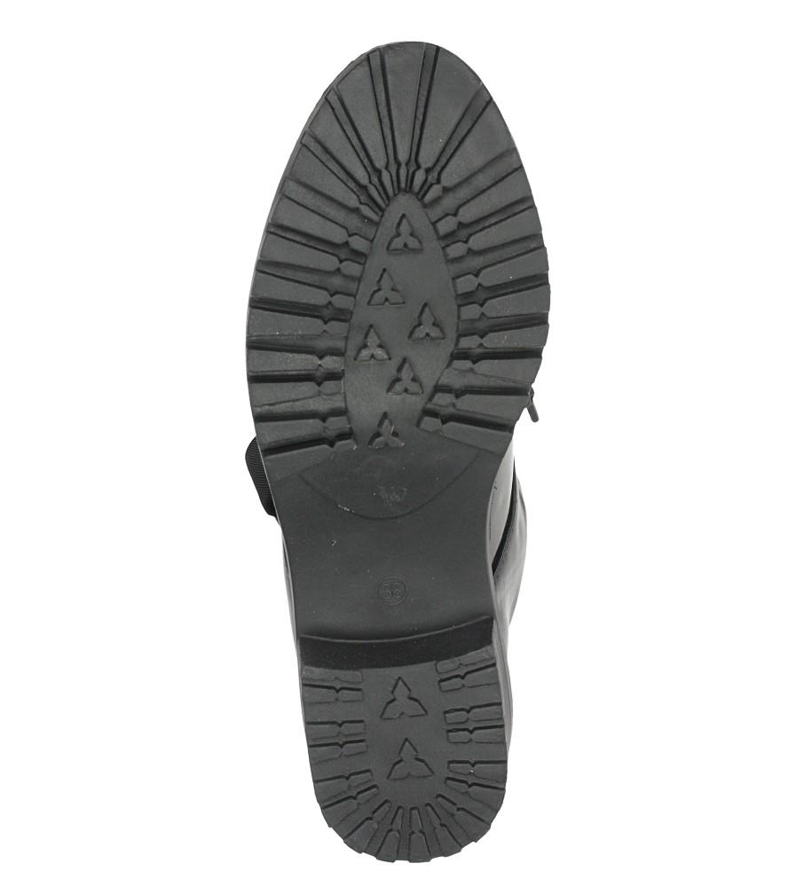 Czarne trzewiki lakierowane wiązane wstążką Casu 1290-1 wierzch skóra ekologiczna- lakier