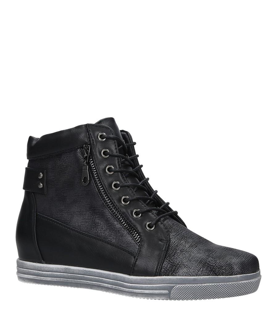 Czarne trzewiki sneakersy z ozdobnym suwakiem Sergio Leone 33191 czarny