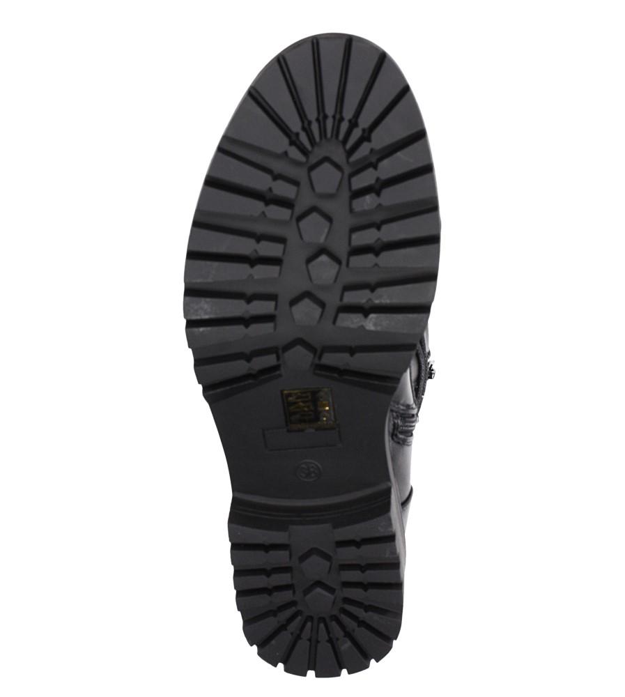 Czarne trzewiki sznurowane z perełkami Casu G19X5/B wnetrze materiał ocieplany