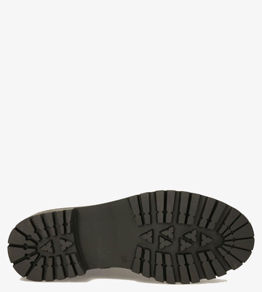Czarne trzewiki workery wiązane wstążką z kryształkami Casu G20X12/B obwod_w_kostce 26 cm