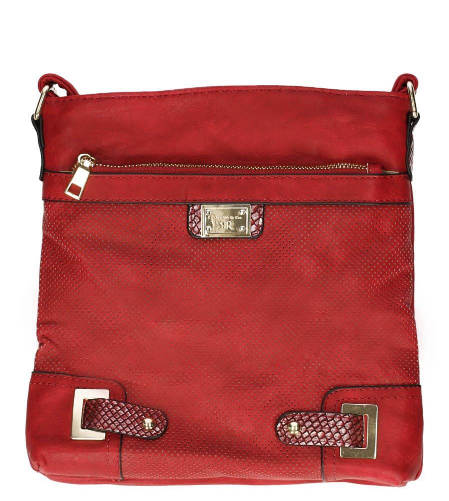 Czerwona torebka listonoszka ażurowa z metalową ozdobą Casu D126