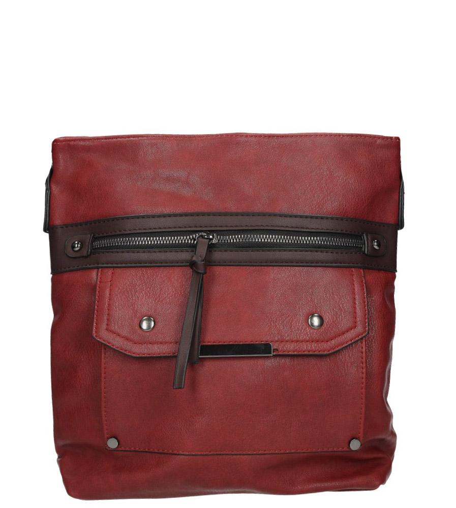 Czerwona torebka listonoszka z kieszonką z przodu i ozdobnym suwakiem Casu 9726
