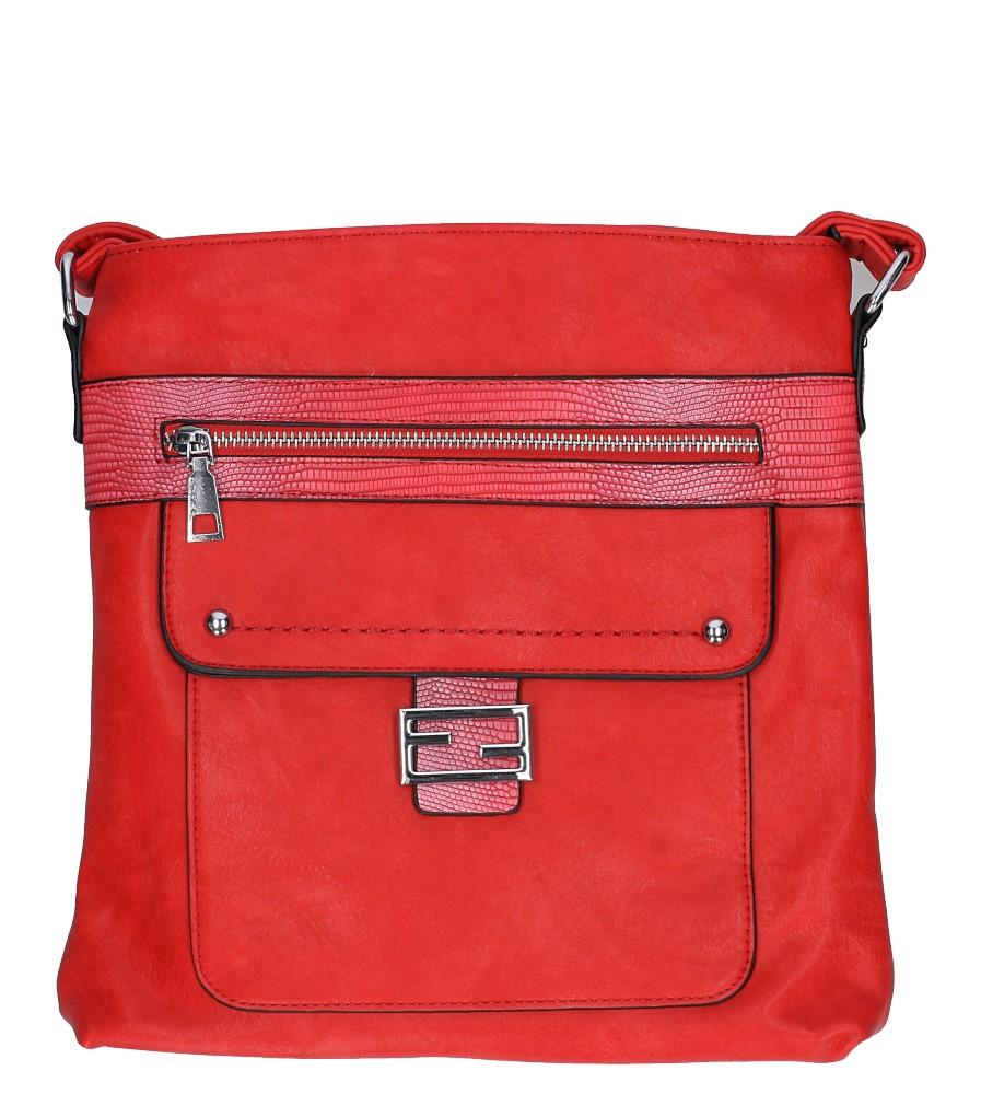 Czerwona torebka listonoszka z metalową ozdobą Casu D54
