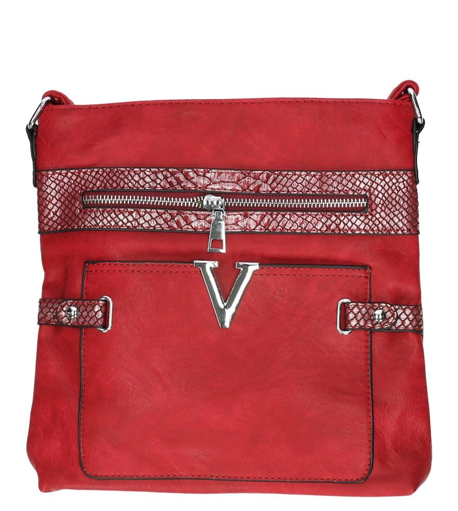 Czerwona torebka listonoszka z metalową ozdobą Casu D60