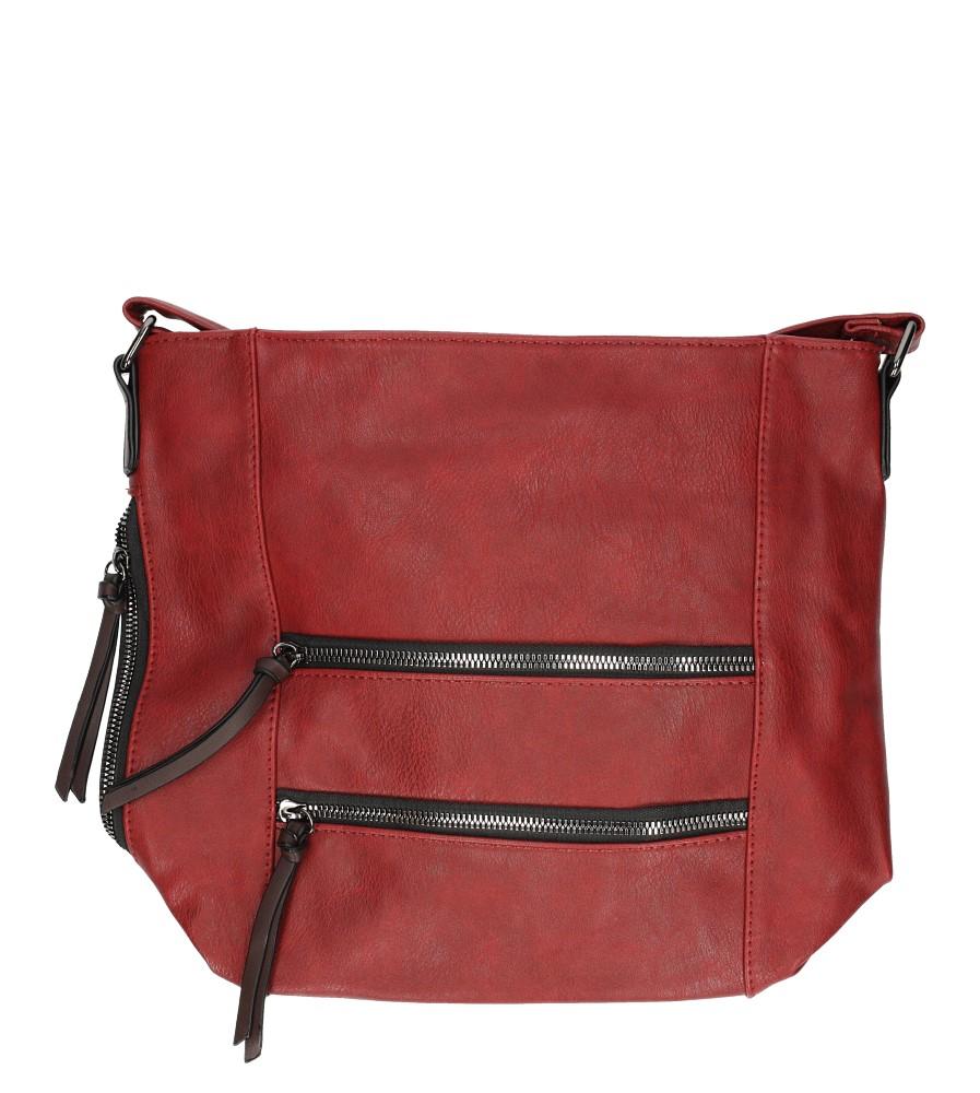 Czerwona torebka listonoszka z ozdobnymi suwakami Casu 9259