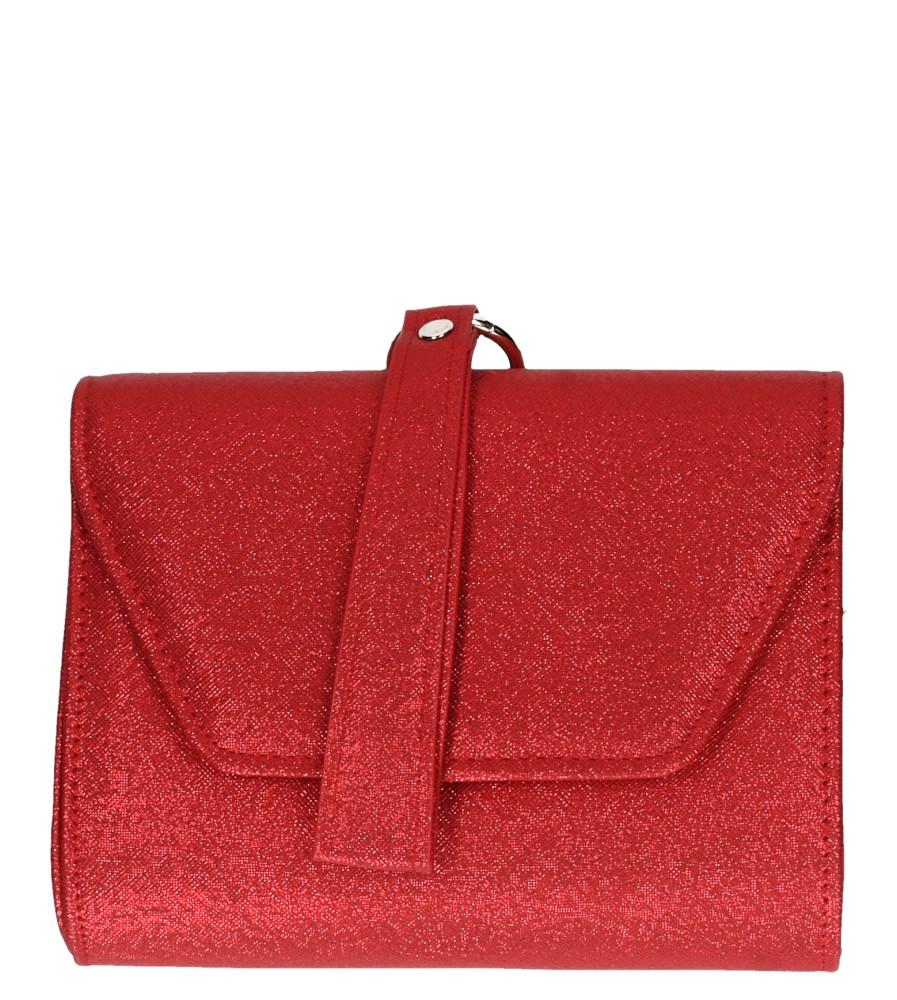 Czerwona torebka wizytowa błyszcząca na łańcuszku Casu AD-82