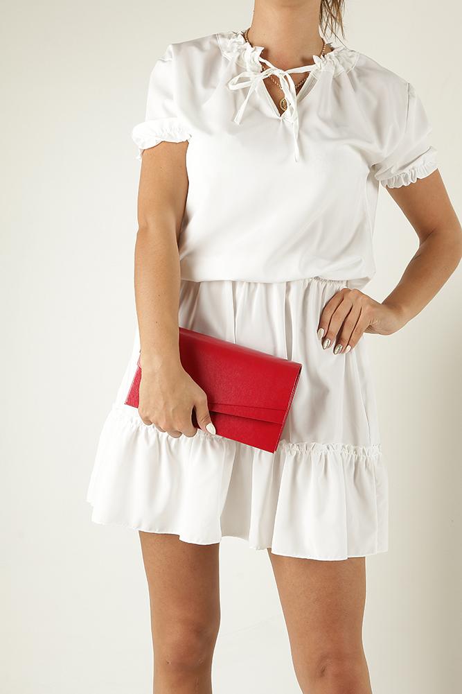 Czerwona torebka wizytowa Casu M01B