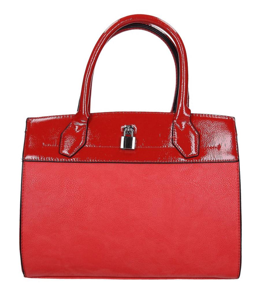 Czerwona torebka z metalową ozdobą Casu AD-43