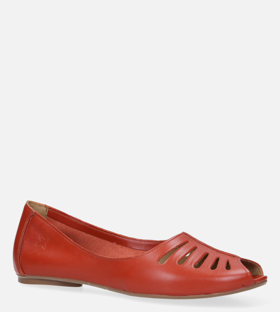 Czerwone baleriny skórzane z odkrytymi palcami Maciejka 03497-18/00-6 czerwony