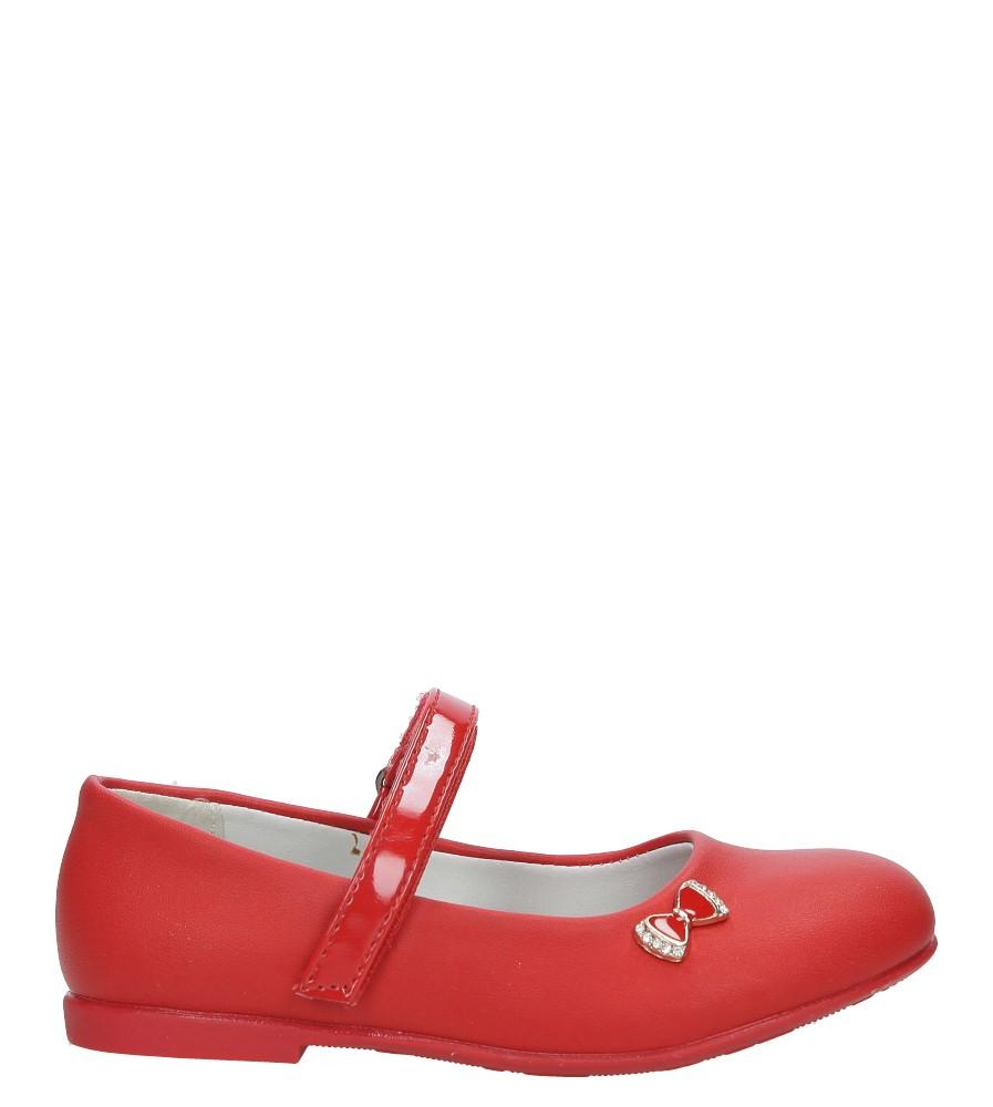 Czerwone baleriny z kokardką na rzep ze skórzaną wkładką Casu D-521 czerwony