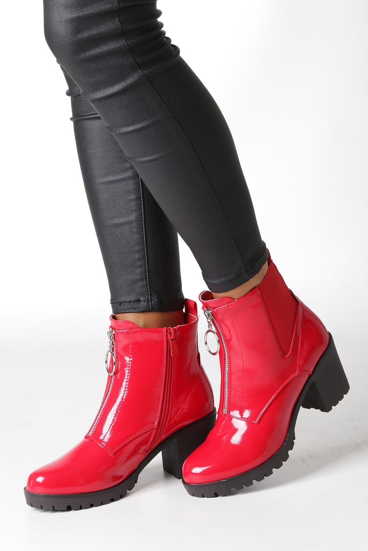 Czerwone botki na słupku z ozdobnym suwakiem Casu 7-X8039B wysokosc_obcasa 7.5 cm