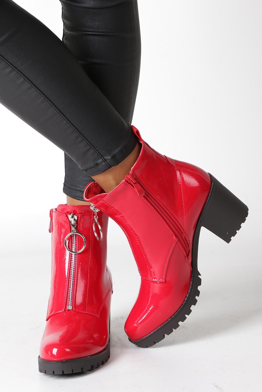 Czerwone botki na słupku z ozdobnym suwakiem Casu 7-X8039B wysokosc_platformy 2 cm