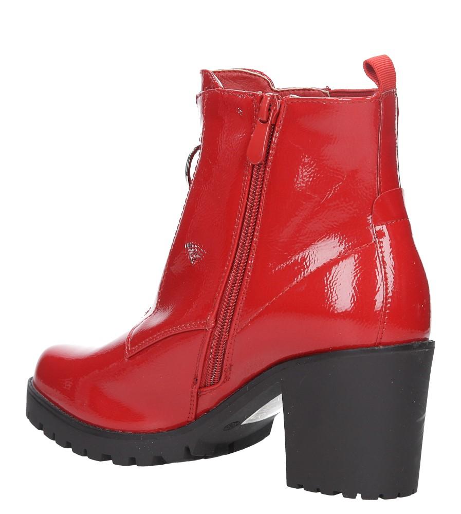 Czerwone botki na słupku z ozdobnym suwakiem Casu 7-X8039B wierzch skóra ekologiczna- lakier
