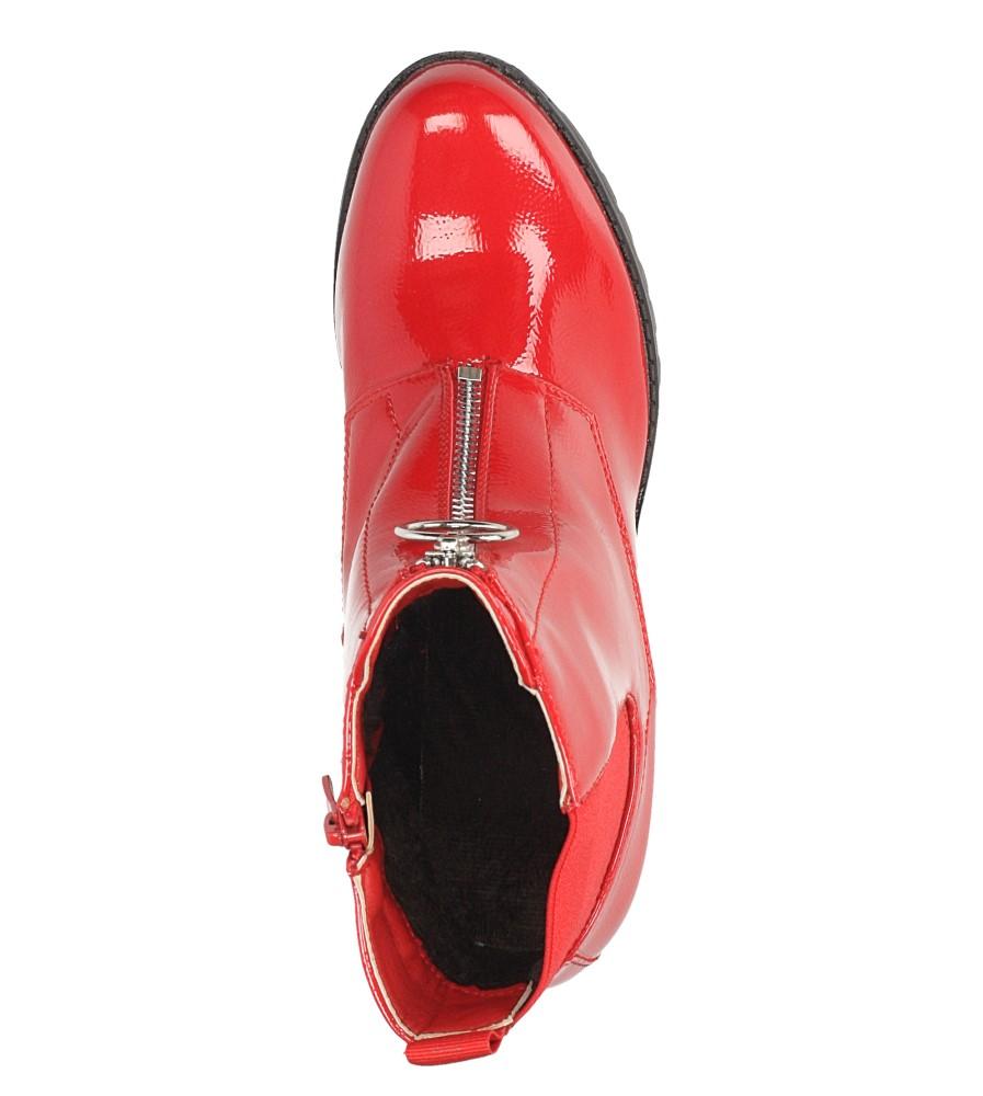 Czerwone botki na słupku z ozdobnym suwakiem Casu 7-X8039B wnetrze futerko