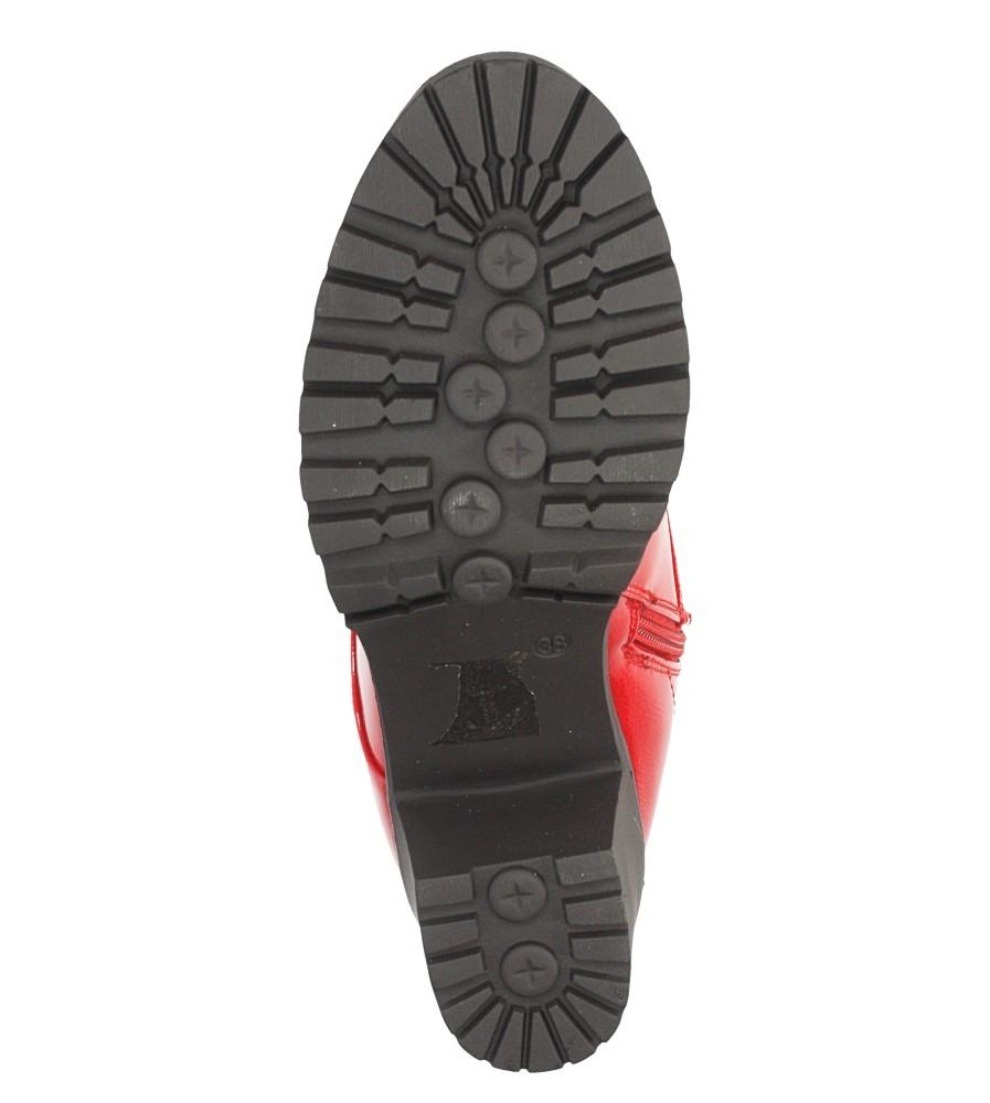 Czerwone botki na słupku z ozdobnym suwakiem Casu 7-X8039B wkladka futerko