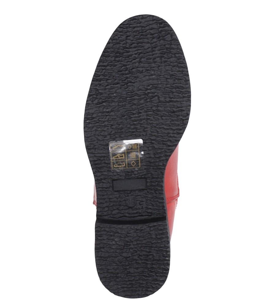 Czerwone botki sztyblety z gumkami Jezzi 9BT35-1489 wierzch skóra ekologiczna