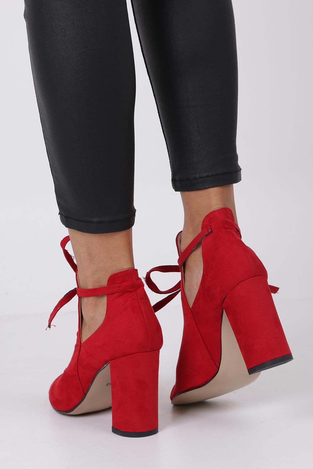 Buty Czerwone botki wiosenne peep toe na słupku z ozdobnym