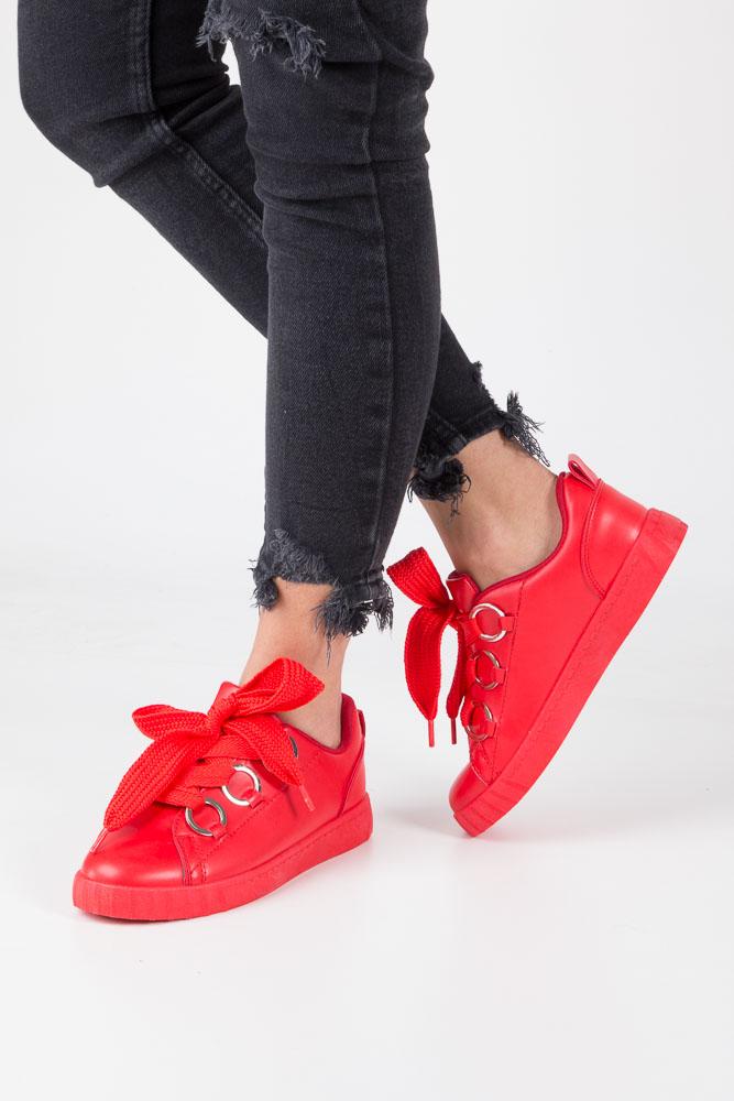 Czerwone buty sportowe creepersy na platformie sznurowane Casu AB-67 czerwony