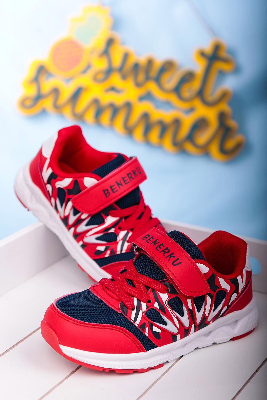 Czerwone buty sportowe na rzep Casu 20P8/M  producent Casu