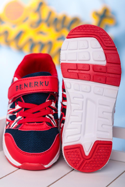 Czerwone buty sportowe na rzep Casu 20P8/M  sezon Całoroczny