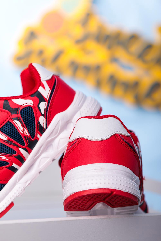 Czerwone buty sportowe na rzep Casu 20P8/M  kolor czerwony
