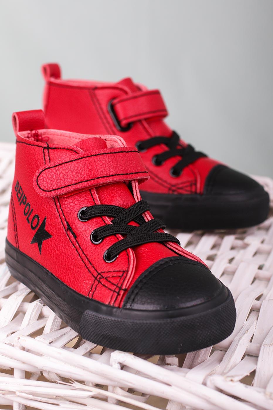 Czerwone buty sportowe na rzep Casu 20W6/R czerwony