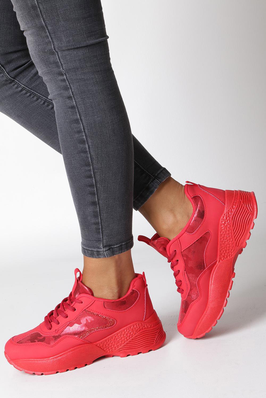 Czerwone buty sportowe sneakersy sznurowane Casu 7-K591C czerwony