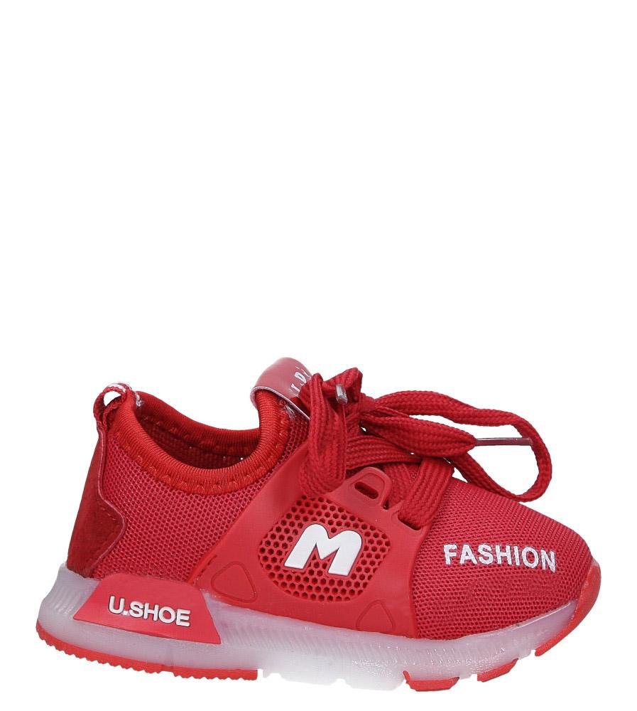 Czerwone buty sportowe świecące led sznurowane Casu 332 czerwony