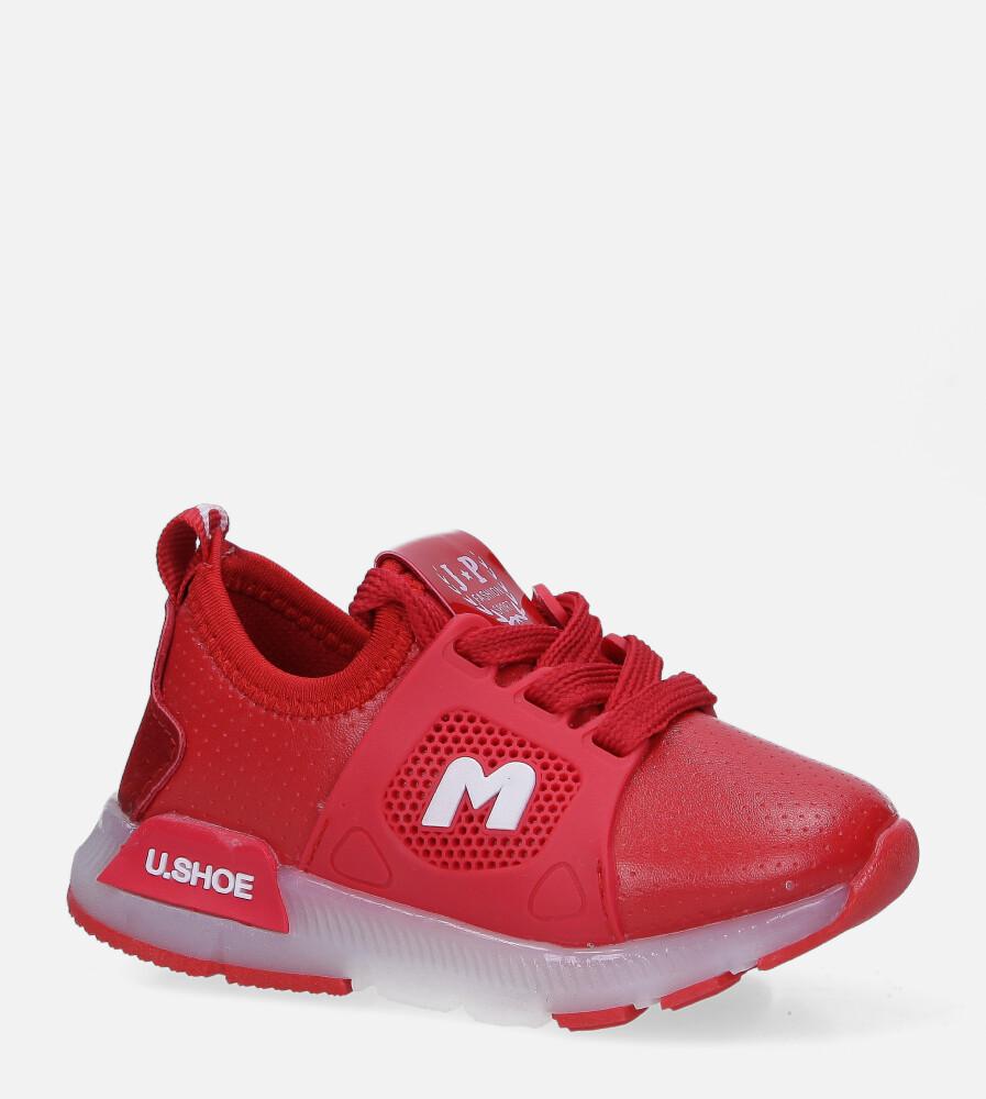 Czerwone buty sportowe świecące led sznurowane Casu B331 czerwony