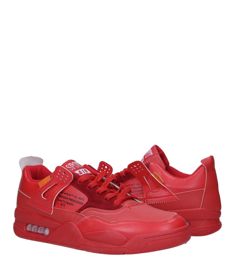 Czerwone buty sportowe sznurowane Casu 191 wysokosc_platformy 2 cm