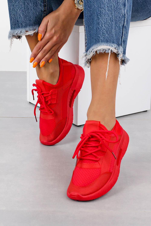 Czerwone buty sportowe sznurowane Casu DS12001-5