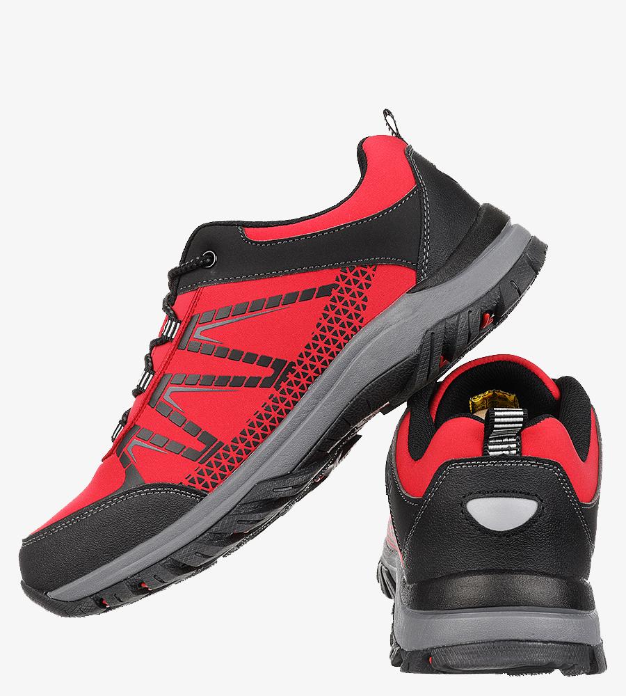 Czerwone buty trekkingowe sznurowane Casu MXC8108 wysokosc_platformy 1.5 cm