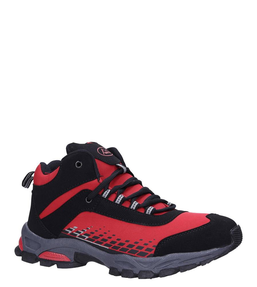 Czerwone buty trekkingowe sznurowane softshell Casu A1811-4