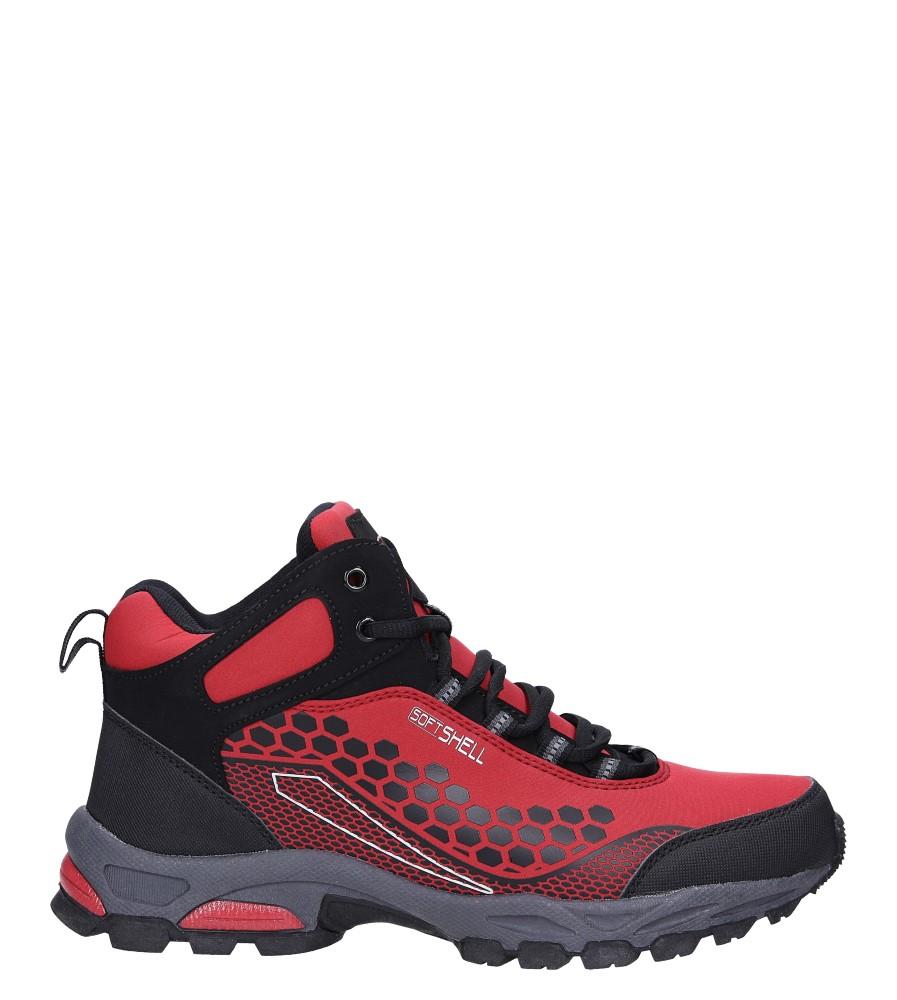 Czerwone buty trekkingowe sznurowane softshell Casu A1813-4