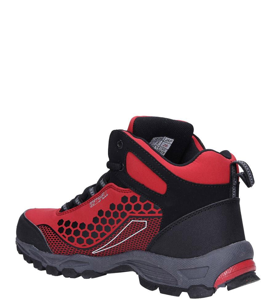 Czerwone buty trekkingowe sznurowane softshell Casu A1813-4 sezon Całoroczny