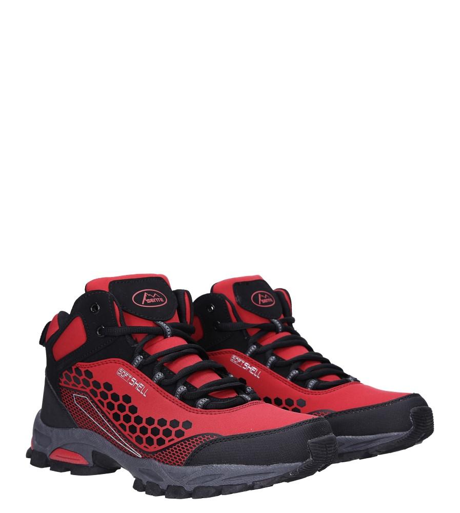 Czerwone buty trekkingowe sznurowane softshell Casu A1813-4 kolor czarny, czerwony