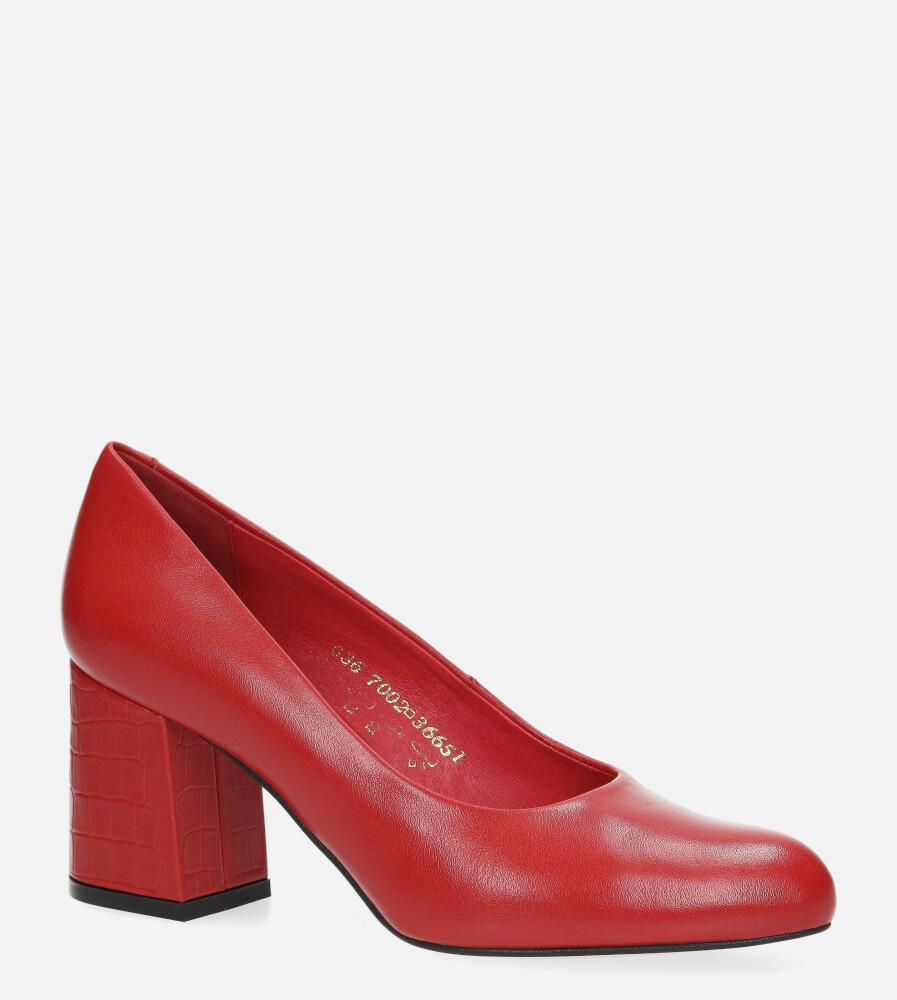 Czerwone czółenka Visconi skórzane na szerokim ozdobnym słupku 7002707/001 czerwony
