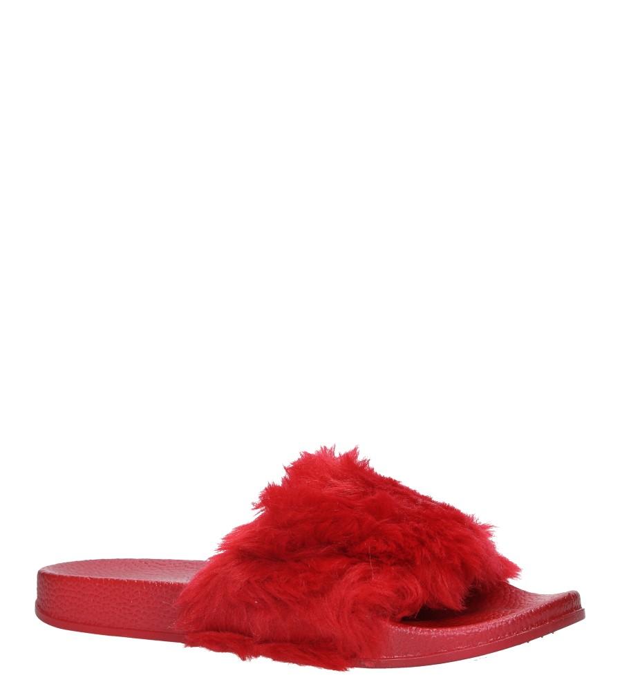 Czerwone klapki z futerkiem Casu SAM04A