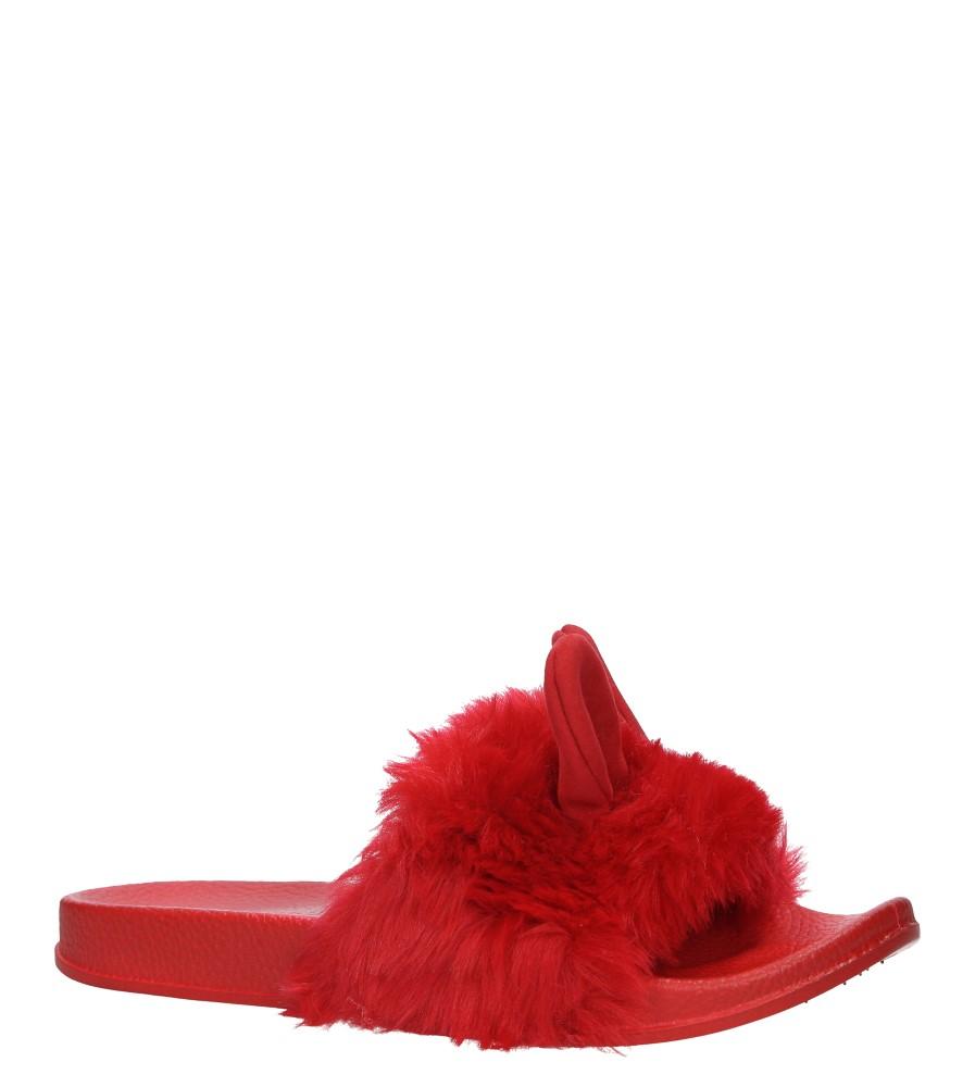 Czerwone klapki z futerkiem i uszkami Casu SAM03A