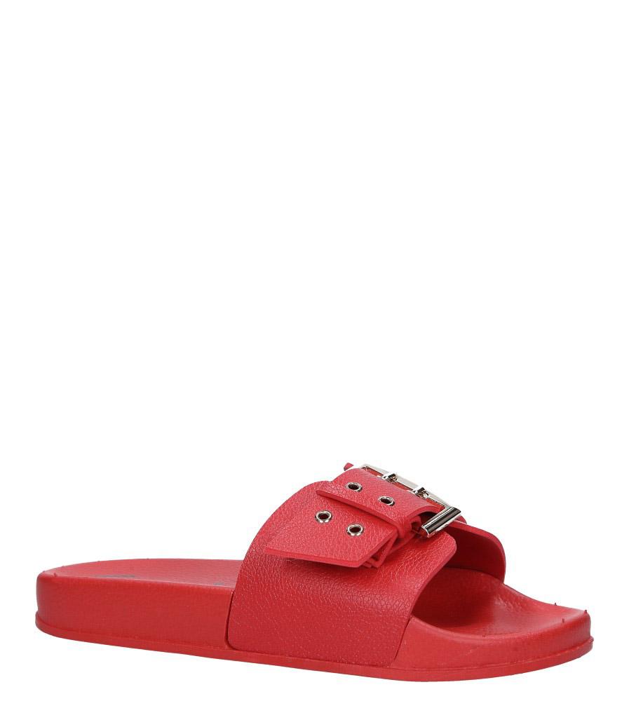 Czerwone klapki ze złotą klamrą Casu B19X5/R