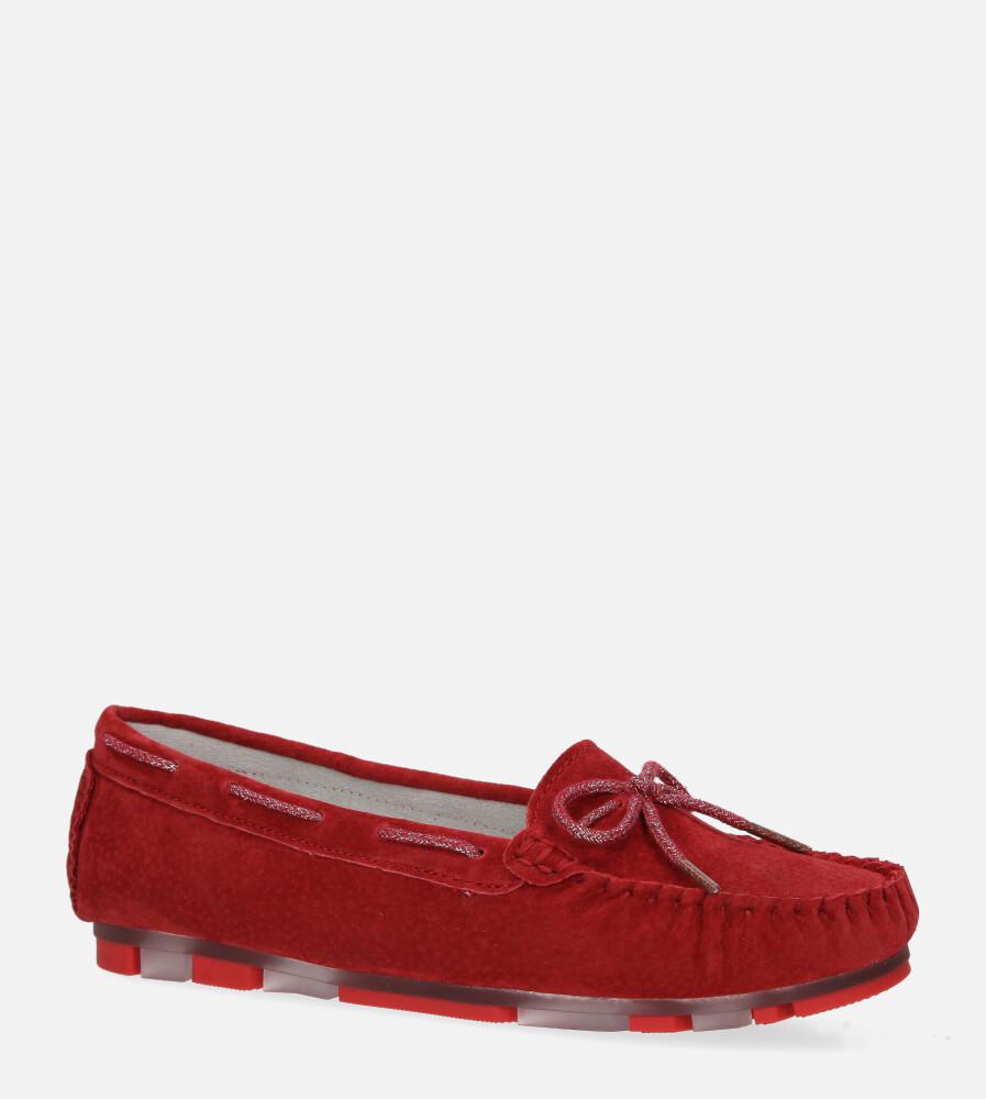 Czerwone mokasyny Filippo skórzane zamszowe DP1203/20RD czerwony