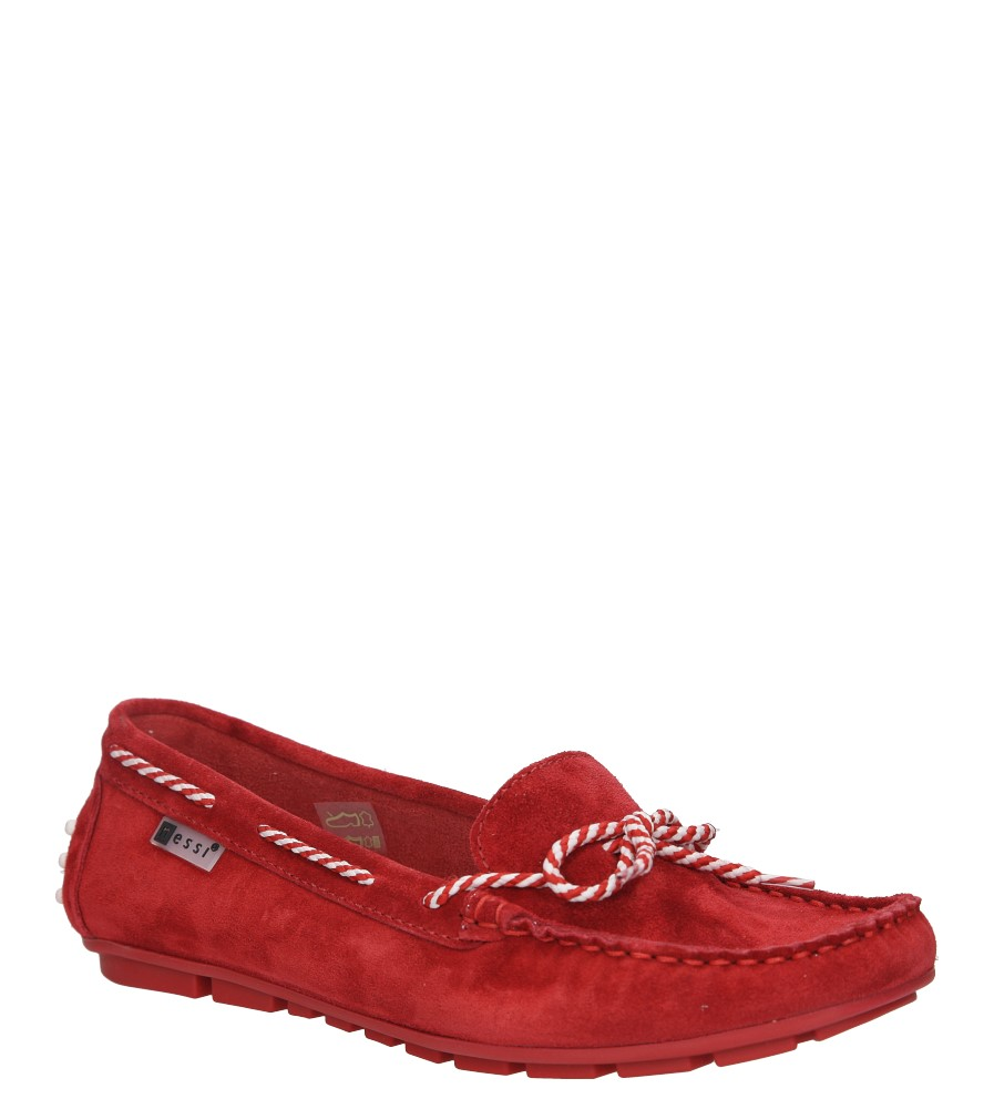 Czerwone mokasyny skórzane z ozdobną sznurówką Nessi 18307 czerwony