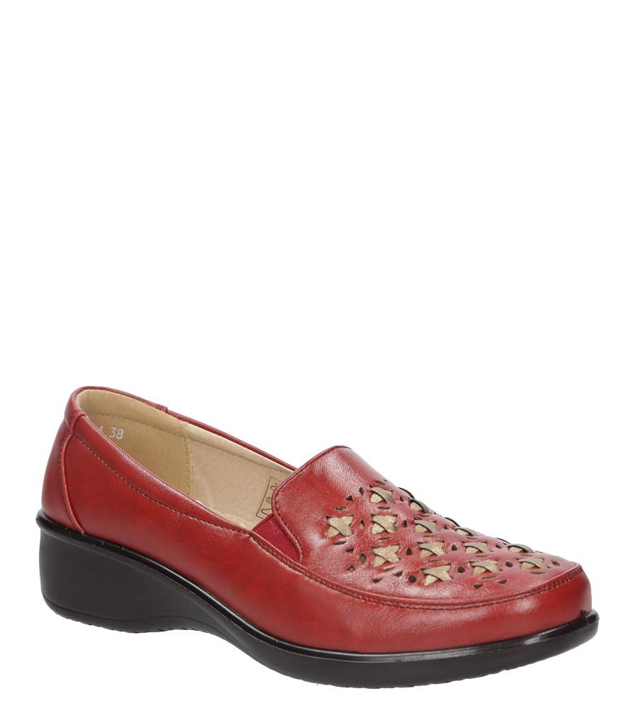 Czerwone półbuty na koturnie ażurowe Casu 57215-4 czerwony