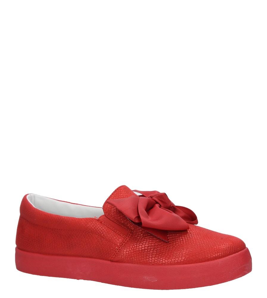 Czerwone półbuty slip on z kokardą Casu B859-19