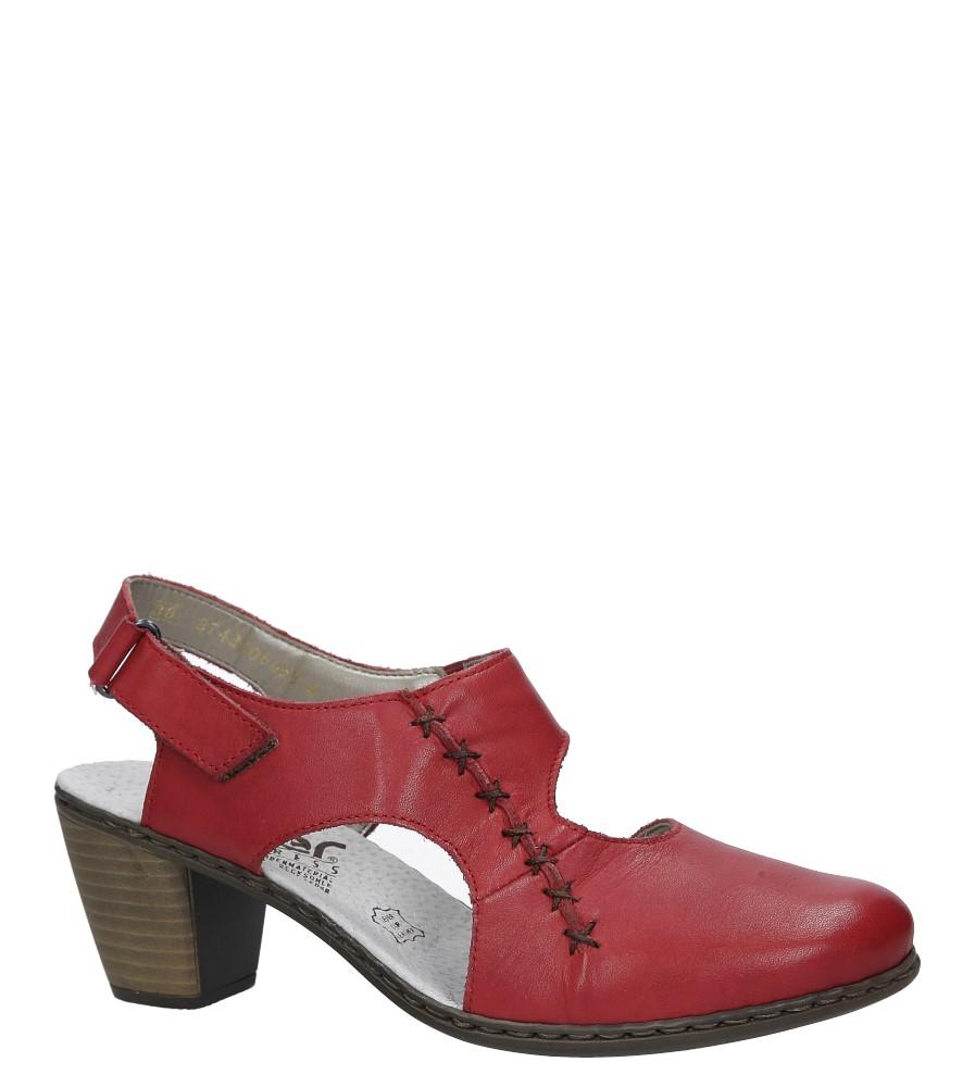 Czerwone sandały na niskim obcasie Rieker 40950-33 czerwony
