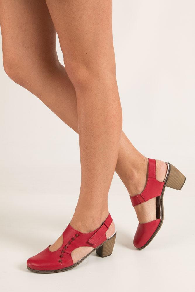f85f8f18 Buty Czerwone sandały na niskim obcasie Rieker 40950-33 - Sklep Casu.pl