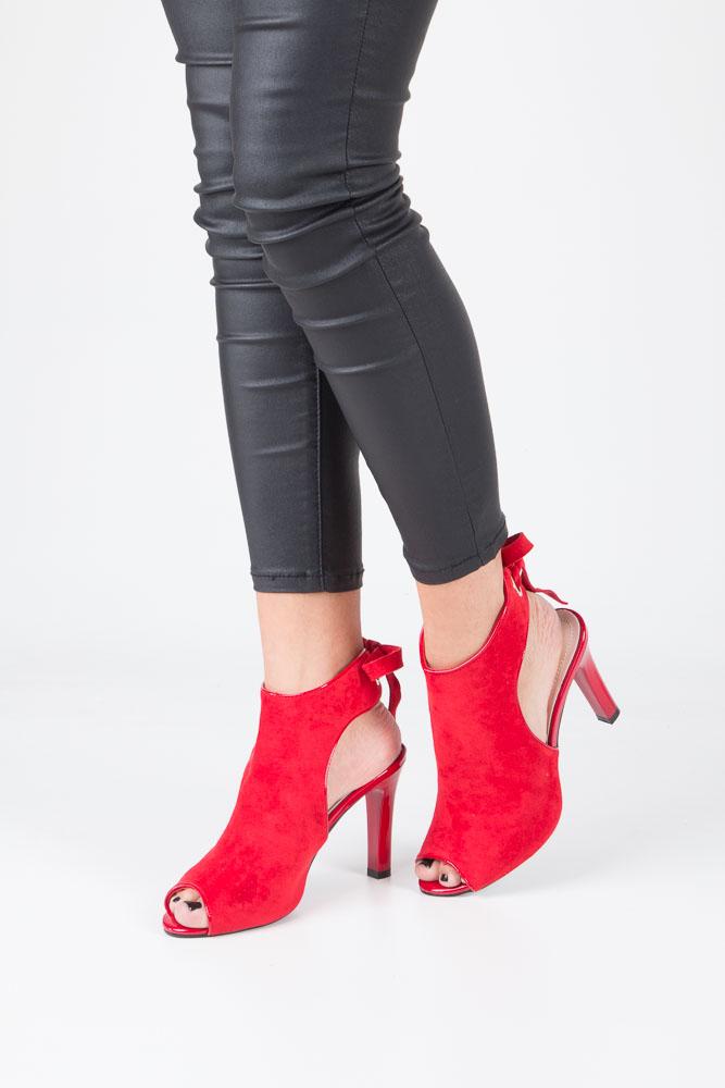 Czerwone sandały na obcasie z kokardą Sergio Leone 1493